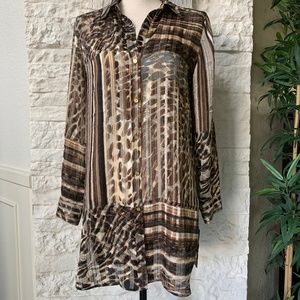 Chicos Mixed Animal Print /Stripe Patterned Blouse